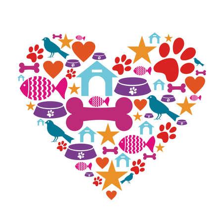 huellas de perro: Forma de coraz�n hecho con iconos de atenci�n mascotas conjunto.