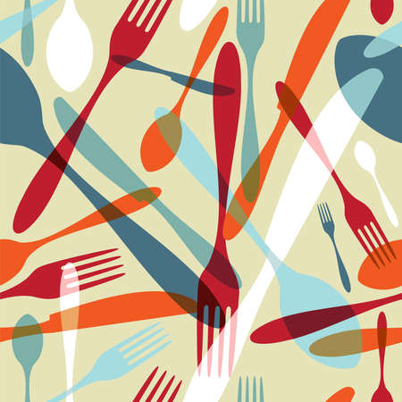 Transparency silverware icons seamless pattern background. Fork, knife and spoon silhouettes on different sizes and colors.  Ilustração