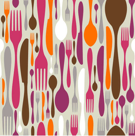 Silverware icons seamless pattern background. Fork, knife and spoon silhouettes on different sizes and colors.  Vector