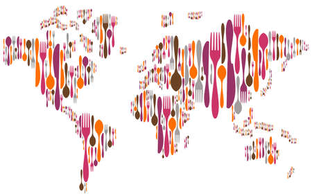 World made with forks, knives and spoons silhouettes on different sizes and colors. Vector