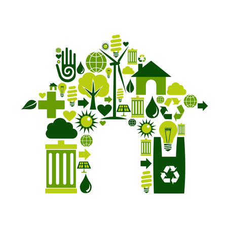 House silhouette made with environmental icons collection Stock Vector - 11076055
