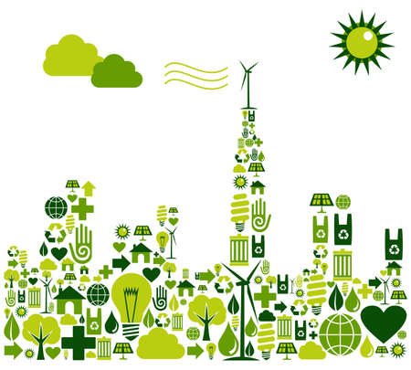 Green city shape made with environmental icons set. Vector