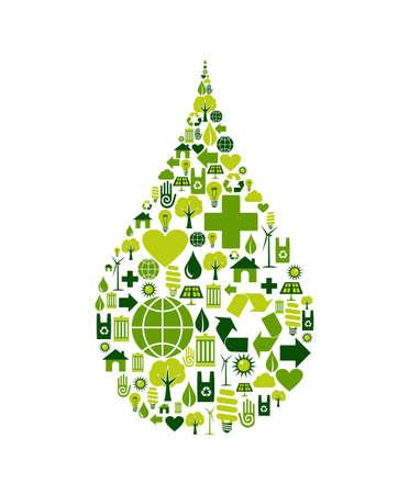 conservacion del agua: Silueta de gota con conjunto de iconos medioambientales.