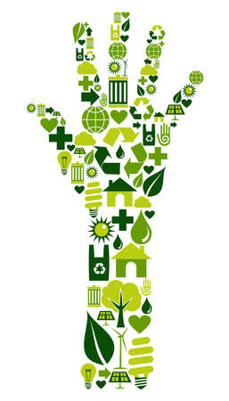 renewable resources: Hand shape made with environmental icons set.