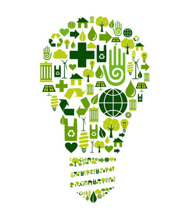 energy conservation: Green bulb silhouette made with environmental icons set.