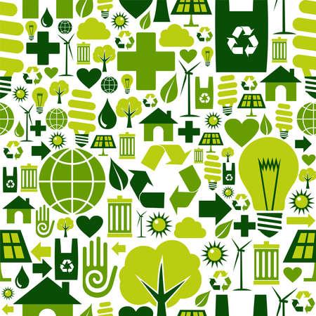 Le icone ambientali di atteggiamento verde hanno messo il fondo senza cuciture del modello.