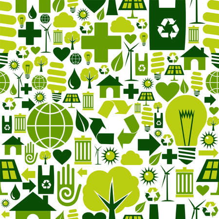 energy conservation: Green attitude environmental icons set seamless pattern background. Illustration
