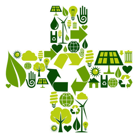 Sum symbol made with environmental icons set Vector