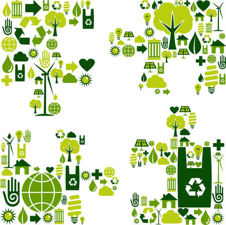 Puzzle piece silhouette made with environmental icons collection. Vector