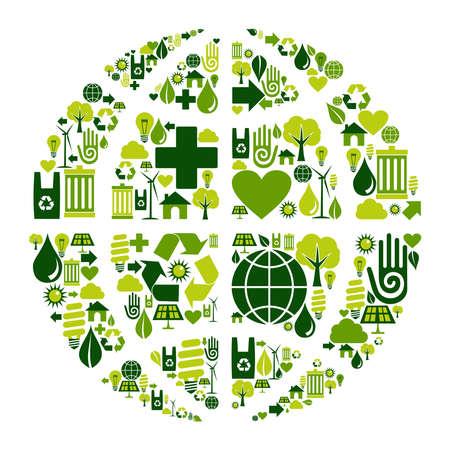 World symbol social media with environmental icons.