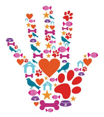 Human hand shape with animal pet protection icons set.