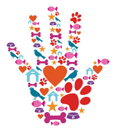 kennel: Human hand shape with animal pet protection icons set. Illustration