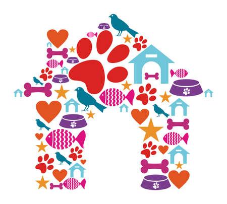 huellas de perro: Forma de perro de la casa hecho con iconos de cuidado de los animales establecidas.