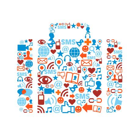 Bag silhouette made with social media icons set. Vector