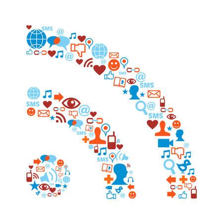 rss: Social media icons set in RSS symbol shape composition