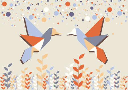 two tone: Couple of Origami hummingbird in pastel tones background. Vector file available. Illustration