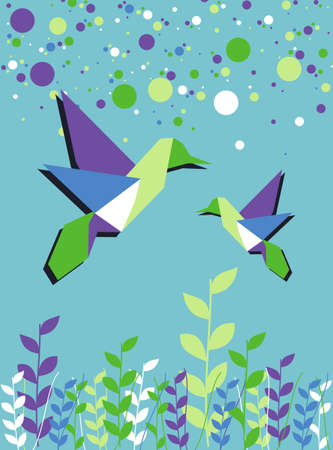 Origami hummingbird couple in blue colors palette background. Vector file available. Vector