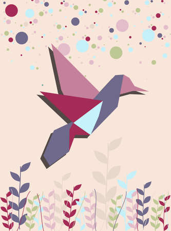 paper flying: One Origami hummingbird in pink colors portrait composition background. Vector file available.
