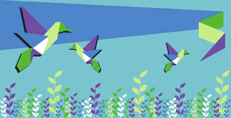 Origami hummingbird group in floral vibrant colors background. Vector file available. Vector
