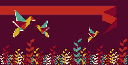 Origami hummingbird design in vibrant colors. Vector file available. Stock Vector - 11135689