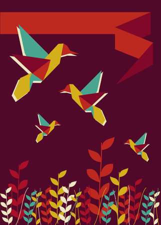 burgundy ribbon: Origami hummingbird spring time burgundy design. Vector file available. Illustration