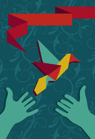 Origami hummingbird greeting card and protective hands in portrait composition. Vector file available. Vector