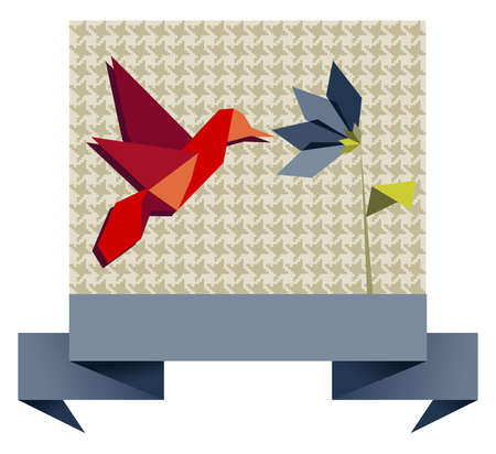 origami pattern: Single Origami hummingbird over textile seamless pattern background. Vector file available.