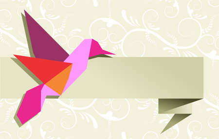 origami bird: One Origami hummingbird over floral design banner background. Vector file available.