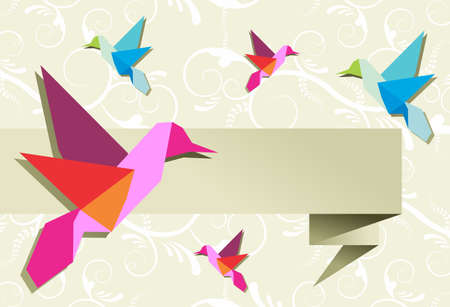 Origami hummingbird design in pastel colors palette background. Vector file available. Vector