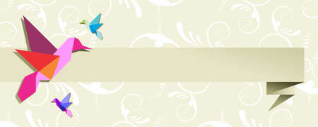 Origami hummingbird design in pastel colors floral background. Vector file available.