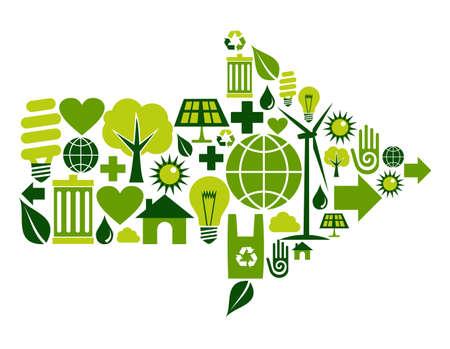 waterbesparing: Pijl symbool gemaakt met groene set omgeving iconen. Stock Illustratie