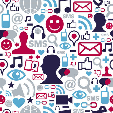 human relations: Social media network icons set seamless pattern background