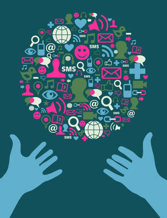 discussion forum: Social media icon set in Earth shape and two blue human hands extended. Vector file available.