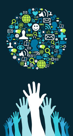 Several hands trying to reach a globe made with social media icons on blue background. Vector file available. Vector