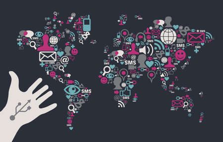 black icons: Social media icons set in World Map shape with one USB white hand over black background. Vector file available.