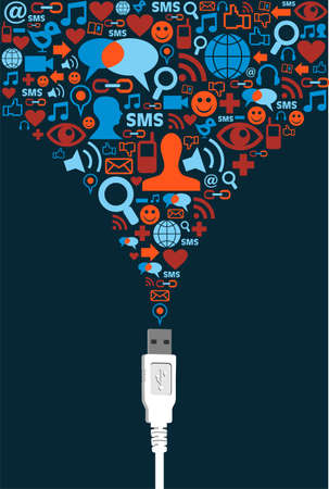 sociologia: Sociales iconos conjunto de medios de presentaci�n de cable USB. Vector de archivo disponibles.