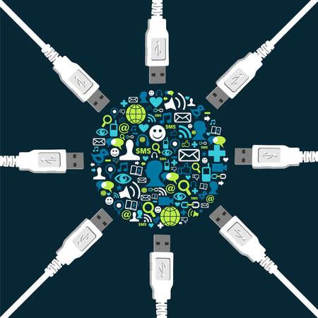 relaciones humanas: Medios de comunicaci�n social colecci�n de iconos en forma de c�rculo rodeado de cables USB.