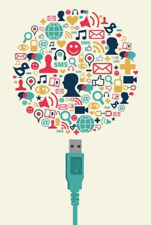 interaccion social: �nico conector USB se conecta un globo hecho con iconos de los medios de comunicaci�n social, en el fondo crema. Vector de archivo disponibles.