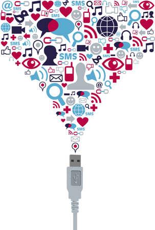 sociologia: Sociales iconos conjunto de medios de presentación de cable USB. Vector de archivo disponibles.