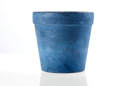 ceramic: A empty blue flower pot  isolated on white background. Included clipping path, so you can easily cut it out and place over the top of a design. Stock Photo