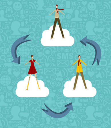 Cloud computing concept people on a blue background with social media icons. Vector file available. Vector