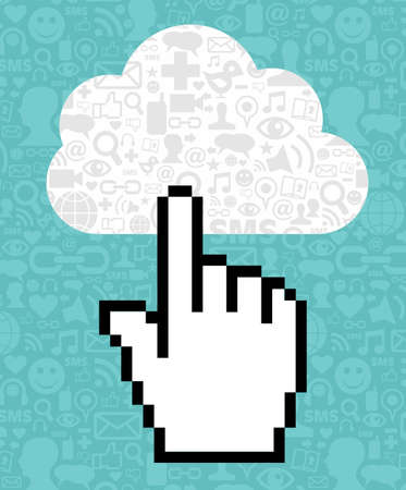 clicking: Cursor icon hand clicking on a cloud with icons of social media on blue background. Vector file available. Illustration