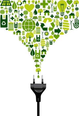 prise de courant: Ic�nes de l'environnement mis en �claboussures de vert � partir de fils �lectriques prise �lectrique sur fond blanc. Fichier vectoriel disponibles.