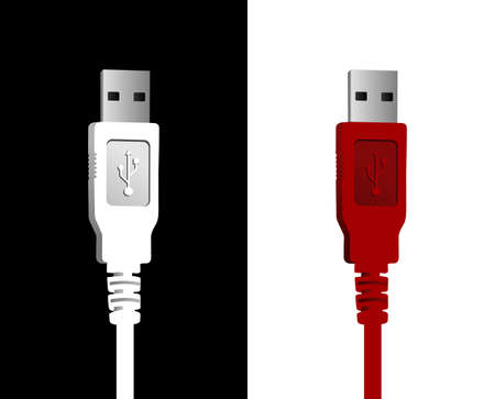 USB cables in red and white on black and white background. Vector file available.