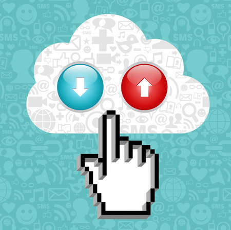 Cursor hand clicking on a cloud with icons of social media and arrows up and down on blue background.  Vector
