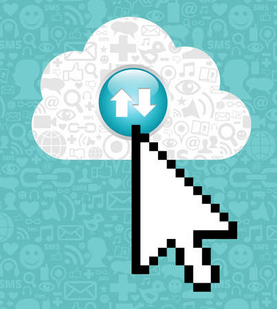 Arrow cursor clicking on a cloud with icons of social media on blue background. Vector
