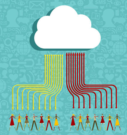 going up: People holding hands under cloud with social media communication icons with arrows going up and down on blue background. Illustration