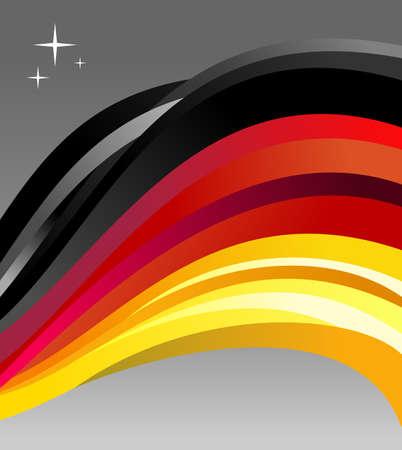 bandera alemania: Ilustraci�n de la bandera de Alemania revoloteando sobre un fondo gris.