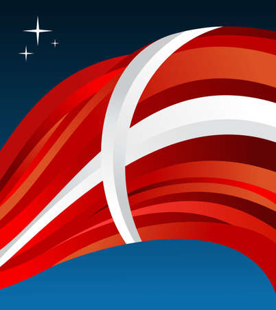 fluttering: Denmark flag illustration fluttering on blue background.