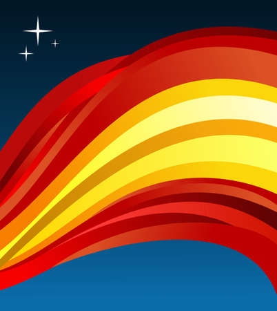 fluttering: Spain flag illustration fluttering on blue background.